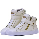 Bota Sneaker Casual Mr Gutt em Couro Legítimo Branco