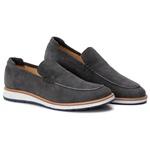 9002 Loafer Elite Couro Premium Camurça Grafite