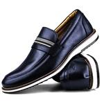 Brogue Premium Couro Comfort Marinho Andora 8000