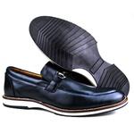 Brogue Premium Couro Comfort Marinho Andora 8006