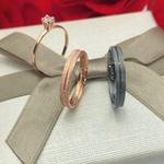 Alianças Riviera - 3 mm - Namoro - Prata 950 - Ródio Negro e Ouro Rosé - Diamantadas - Anatômicas - Anel de brinde