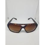 Óculos De Sol Unissex: Tartaruga Com Detalhe Bronze E Preto Com Detalhe Prata Em Acetato