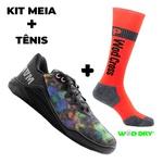 Kit Tênis MVP para Crossfit - Abstrato + Meia Wod Dry Orange Fluor