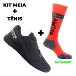 Kit Tênis MVP para Crossfit - Black + Meia Wod Dry Orange Fluor