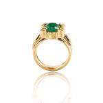 Anel De Esmeralda Oval e Diamantes