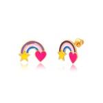 Brinco Arco-Íris Coração e Estrela Esmaltado