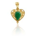Pingente De Coração Com Esmeralda Gota