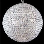 Lustre Esférico em Metal Cromado com Cristal Transparente Tribeca