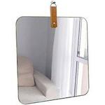 Espelho Slim quadrado 35cm alça caramelo