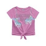 Blusa Fakini Infantil Feminina 4 ao 10 Rosa Lantejoulas