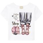 Blusa Milon Infantil Feminina 4-6-8 Branca com Strass