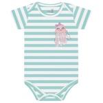 Body Kiko Baby Bebê Feminino RN ao G - Verde Água Listrado