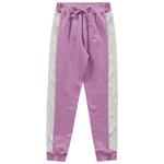 Calça Moletom Fakini Infantil Feminina Rosa com Faixa Holográfica Tamanho 4 ao 10