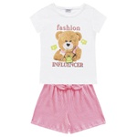 Conjunto Fakini Infantil Feminino 4 ao 10 Branco com Rosa