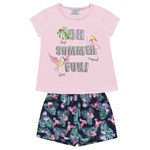 Conjunto Fakini Bebê Feminino 1-2-3 Rosa