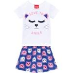 Conjunto Kyly Infantil Feminino Blusa + Short-Saia Estampado