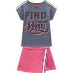 Conjunto Kyly Infantil Feminino Blusa e Short Saia