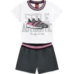 Conjunto Kyly Infantil Feminino 4-6-8 Branco com Cinza Escuro
