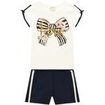 Conjunto Milon Infantil Feminino Blusa em Cotton + Short Moletom