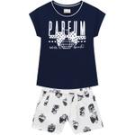 Conjunto Milon Infantil Feminino 10-12-14 Azul Marinho com Bege