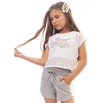 Conjunto Dila Infantil Feminino Branco e Cinza Tamanho 4 ao 10