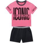Conjunto Amora Infantil Feminino 14 ao 20 Rosa Neon com Preto