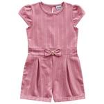 Macacão Fakini Bebê Feminino 1-2-3 Rosa com Listras
