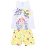 Pijama Kyly Feminino Infantil Estampa Gatinho Tamanho 4 ao 8