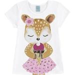 Pijama Kyly Infantil Feminino 4-6-8 Branco com Cinza