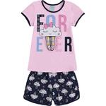 Pijama Kyly Infantil Feminino 10 ao 18 Rosa com Marinho - Nuvens