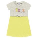 Vestido Fakini Bebê Feminino 1-2-3 Cinza com Verde Neon