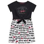 Vestido Fakini Infantil Feminino 4 ao 10 Preto e Branco