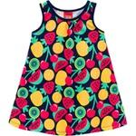 Vestido Kyly Bebê Feminino Azul Marinho Estampa Frutas