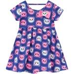 Vestido Kyly bebê Feminino Estampa de Gatinhos Azul
