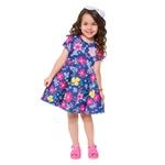 Vestido Kyly Infantil Feminino Estampa Floral com máscara