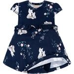 Vestido Milon Bebê Azul Marinho com Body Interno Estampa de Gatinhos