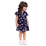 Vestido Milon Bebê Feminino 1-2-3 Marinho com Rosa
