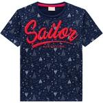 Camiseta Milon Infantil Masculina Bordada Azul