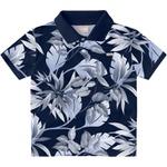 Camiseta Milon Gola Polo Infantil Estampada Azul