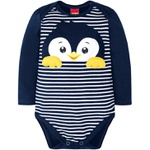Body Manga Longa Kyly Bebê Masculino Pinguim P - M - G