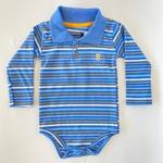 Body Manga Longa Gola Polo Kiko Baby Bebê Masculino Azul Tamanho RN ao G