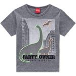Camiseta Kyly Infantil Masculina Cinza Dino