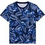 Camiseta Milon Infantil Masculina Estampa Tropical Azul Tamanho 4 ao 12