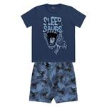 Pijama Kiko e Kika Infantil Masculino 4-6-8 Azul Marinho Dinossauro