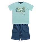 Conjunto Kiko e Kika Infantil Masculino 4 ao 10 - Verde Claro com Azul