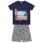 Conjunto Fakini Infantil Masculino 4 ao 10 Praia Marinho
