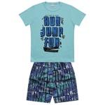Conjunto Fakini Infantil Masculino 4-6-8 Azul Turquesa com Marinho
