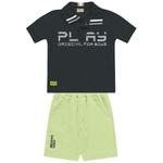 Conjunto Playground Bebê Masculino 1-2-3 Preto com Verde Limão