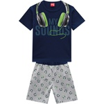 Conjunto Kyly Masculino Infantil Camiseta Estampa Fone de Ouvido Neon + Bermuda Moletom