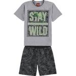 Conjunto Kyly Infantil Masculino 4-6-8 Cinza-Preto-Verde Limão